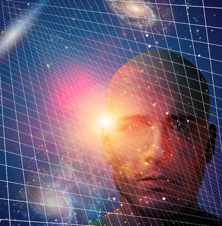 alien robot: Male figurte with space and grid Stock Photo