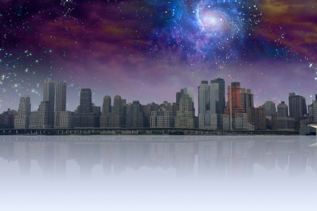 City withreflection and night sky
