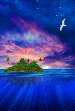 floating on water: Floating Island  Stock Photo