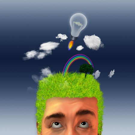 Man with landscape on his head and idea rocket photo