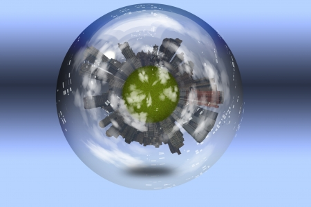 property development: Sphere enclosed green city planet Stock Photo