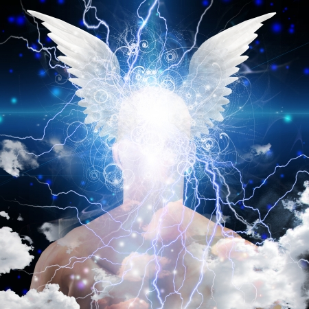 Winged head on star filled man photo