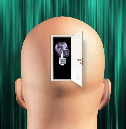 notion: Mans mind opened to human light bulb Stock Photo