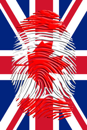 Canada Fingerprint on United Kingdom Flag photo