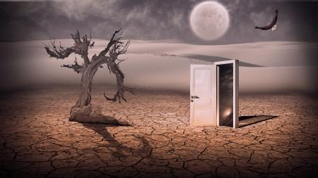 Open doorway show a somehow semitransparent space scene in strange landscape photo