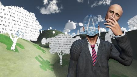 percepción: El hombre quita la cara que muestra capas de cielo underneatrh