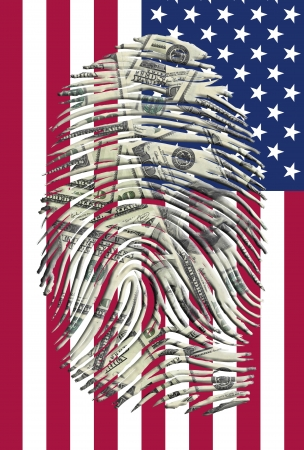 national hero: US Dollars Finger Impression and American Flag Stock Photo