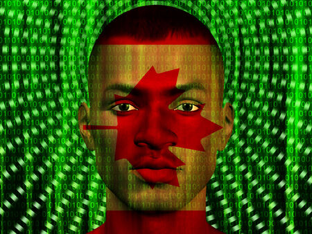 Canada Male with Binary Code Stock Photo
