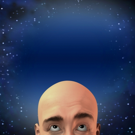 eternal: Man gazes up with stars Stock Photo