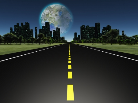 fantasy world: Terraformed moon as seen from highway on future earth