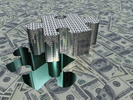 savings problems: USA Currency Puzzle Stock Photo