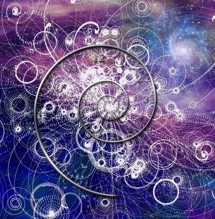Spiraal tijd en quantum deeltjes in de ruimte