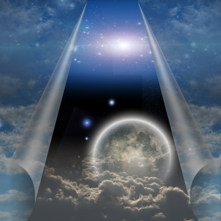 concept magical universe: Veil of sky pulled open to reveal other