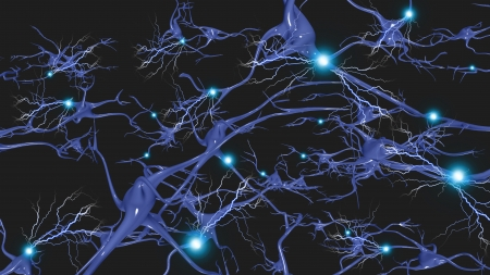 electric cell: Brain cells with electrical firing Stock Photo