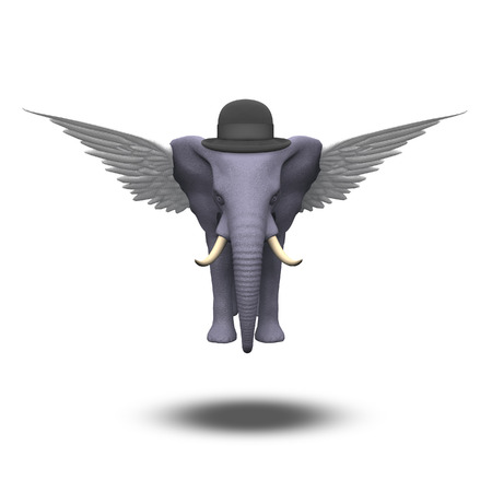 surrealistic: Winged Elephant in a bowler hat