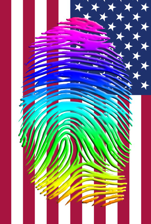Rainbow Pride Identity over US FLag photo