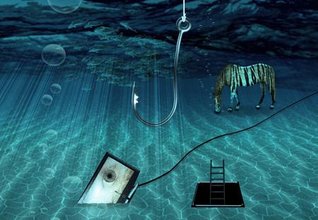 house float on water: Fantasy Underwater scene Stock Photo