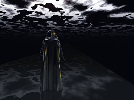 wanderer: Cloaked Man before the darkness