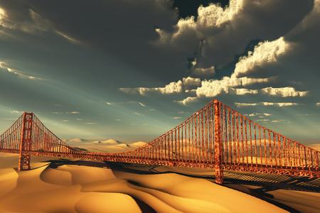 doom: Golden Gate Bridge in desolate future Stock Photo