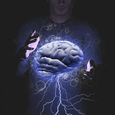 El hombre controla lluvia de ideas