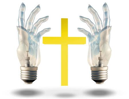 prince of peace: Hand shaped light bulbs frame a cross