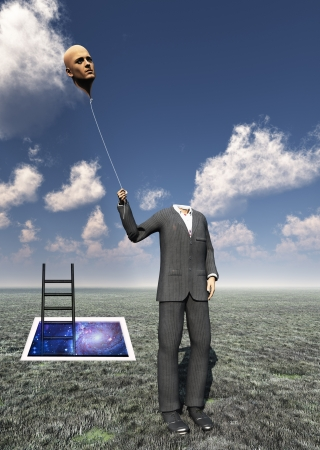 Headless Man with Floating Head Balloon with Cosmic Doorway Stock Photo
