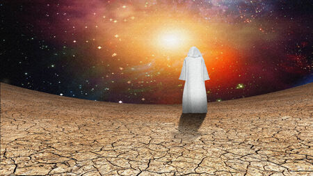 galactic: Desert and galactic sky with wandering cloaked figure Stock Photo