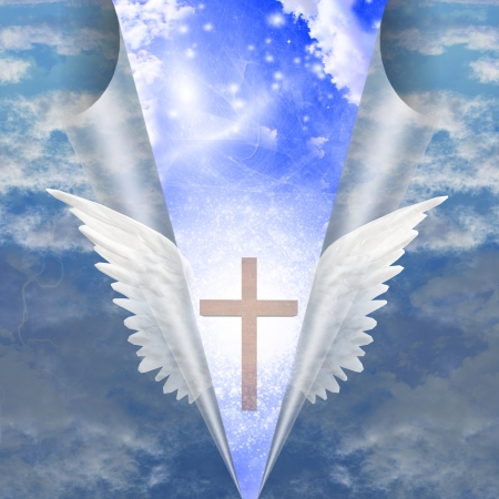 Cross revealed by angels wings