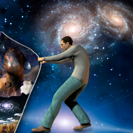 Man stretches space time to show power beneath photo