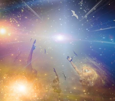 toward: People soaring toward light amongst stars