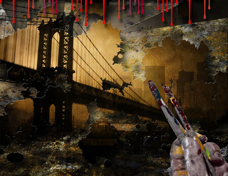 hudson river: Brooklyn Bridge NYC Painting With Artist Hand and Brushes