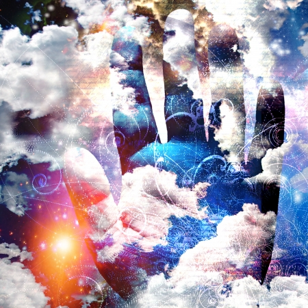 astral: Hand abstract with clouds