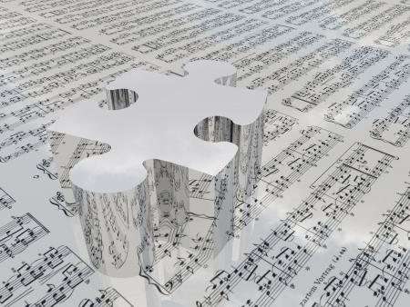Puzzel en bladmuziek reflecterende wolken Bladmuziek wordt proviede met 3D-software gebruikt om dit beeld te creëren en geen realese nodig