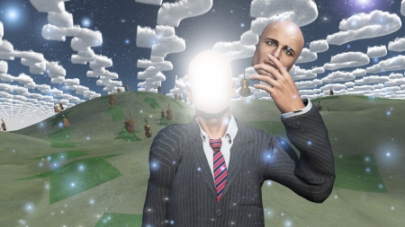 mind body soul: Man removes face showing lightn in landscape with question shaped clouds
