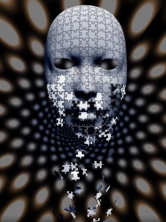 Puzzle falling mask composition photo