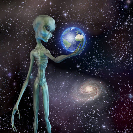 Alien being ponders earth Stock Photo - 25633762