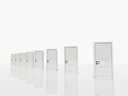 opportunity: Several white door diagonally receding in white space Stock Photo