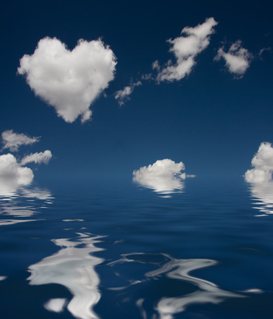 Heart Cloud and reflection in water photo