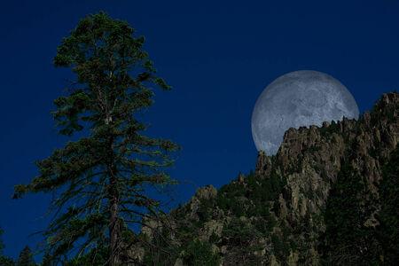 spirtual: Mountain Moon Stock Photo