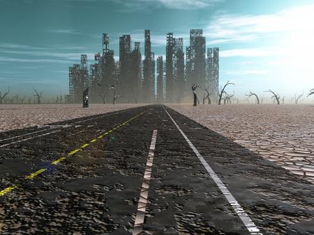 断念された都市に道路のリード線を風化します。