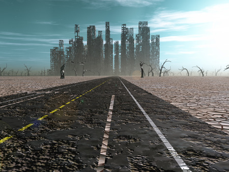 apocalyptic: Weathered road leads into abandoned city