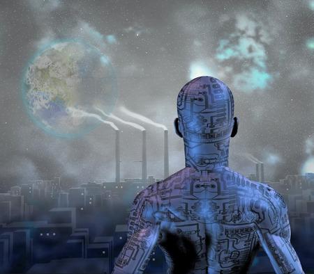 mundo contaminado: Hombre en el smog de la ciudad con la luna llena en el cielo terraformado