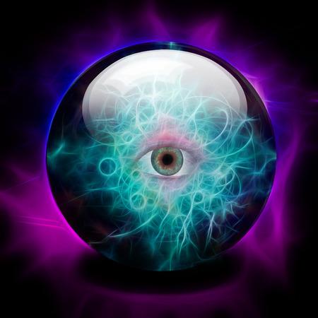 adivino: Bola de cristal con los ojos