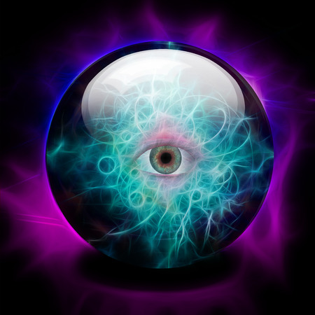 foretell: Crystal Ball with eye Stock Photo