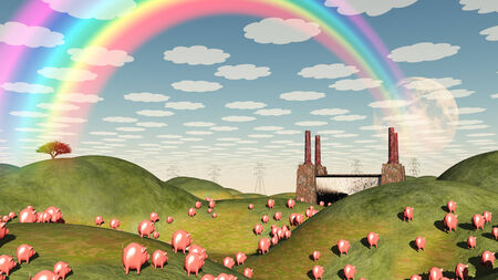 corporate greed: Pigs move like lemmings toward factory Stock Photo