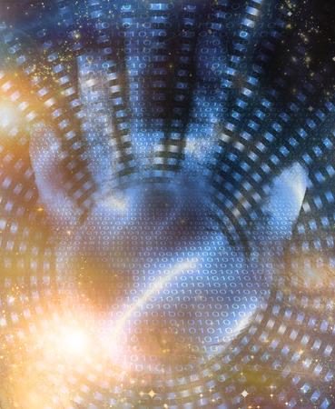 Hand and binary code design Stock Photo