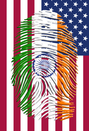 Indian ID with USA flag photo