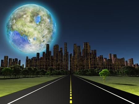 luna: Terraformed moon as seen from highway on future earth