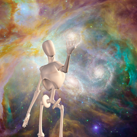 Robot holds galaxy deep space photo
