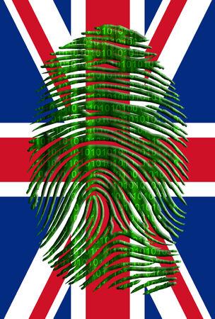 UK Flag with Binary Fingerprint Imagens